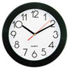 "<strong>Universal®</strong><br />Bold Round Wall Clock, 9.75"" Overall Diameter, Black Case, 1 AA (sold separately)"