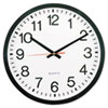 "Classic Round Wall Clock, 12.63"" Overall Diameter, Black Case, 1 AA (sold separately)"