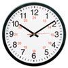 "<strong>Universal®</strong><br />24-Hour Round Wall Clock, 12.63"" Overall Diameter, Black Case, 1 AA (sold separately)"