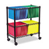 <strong>Alera®</strong><br />Two-Tier Rolling File Cart, 26w x 14d x 29.5h, Black