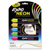 Neon Dry Erase Marker, Bullet Tip, Assorted, 5 per Set