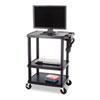 Safco® Three-Shelf Height-Adjustable Cart, 27-3/4w x 18-1/2d x 42h, Black SAF8933BL