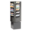 Safco® Steel Rotary Magazine Rack, 44 Compartments, 14w x 14d x 48h, Black SAF4324BL