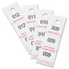 Three-Part Coat Room Checks, Paper, 1 1/2 x 5, White, 500/Pack