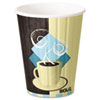 <strong>Dart®</strong><br />Duo Shield Insulated Paper Hot Cups, 12oz, Tuscan, Chocolate/Blue/Beige, 600/Ct