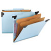 Smead® Six Section Hanging Classification Folder, Pressboard/Kraft, Letter, Blue SMD65115