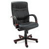 Alera® Alera Madaris Series High-Back Knee Tilt Leather Chair Wood Trim, Black/Mahogany ALEMA41LS10M