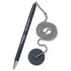 "Secure-A-Pen Antimicrobial Ballpoint Counter Pen Kit with Round Base and 24"" Ball Chain, 1mm, Black Ink/Barrel"