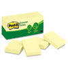 Post-it® Notes Greener Note Pads, 1 1/2 x 2, Canary Yellow, 100-Sheet, 12/Pack MMM653RPYW