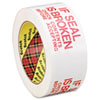 """PRINTED MESSAGE BOX SEALING TAPE, 3"""" CORE, 1.88"""" X 109 YDS, RED/WHITE"""