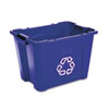 Rubbermaid® Commercial Stacking Recycle Bin, Rectangular, Polyethylene, 14gal, Blue RCP571473BE