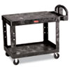 Flat Shelf Utility Cart, Two-Shelf, 25.25w x 44d x 38.13h, Black