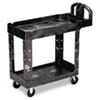 Heavy-Duty Utility Cart, Two-Shelf, 17.13w x 38.5d x 38.88h, Black