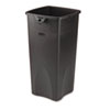 Untouchable Square Waste Receptacle, Plastic, 23 gal, Black
