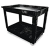 Service/Utility Cart, Two-Shelf, 24w x 40d x 31.25h, Black