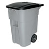 Rubbermaid® Commercial Brute Rollout Container, Square, Plastic, 50gal, Gray RCP9W27GY