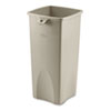 Untouchable Waste Container, Square, Plastic, 23gal, Beige
