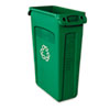 Rubbermaid® Commercial Slim Jim Recycling Container w/Venting Channels, Plastic, 23gal, Green RCP354007GN
