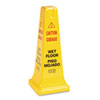 Rubbermaid® Commercial Four-Sided Caution, Wet Floor Safety Cone, 10 1/2w x 10 1/2d x 25 5/8h, Yello RCP627777
