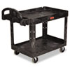 Rubbermaid® Commercial Heavy-Duty Utility Cart, Two-Shelf, 25-1/4w x 44d x 39h, Black RCP452088BK