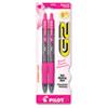 <strong>Pilot®</strong><br />G2 Premium Breast Cancer Awareness Gel Pen, Retractable, Fine 0.7 mm, Black Ink, Translucent Pink Barrel, 2/Pack