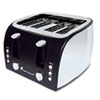 Coffee Pro 4-Slice Multi-Function Toaster with Adjustable Slot Width, Black/Stainless Steel OGFOG8166