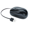 Pro Fit Optical Mouse, Retractable Cord, Two-Button/Scroll, Black