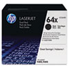 HP 64X, (CC364X-D) 2-Pack High-Yield Black Original LaserJet Toner Cartridges