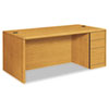 HON® 10700 Single Pedestal Desk, Full Right Pedestal, 72w x 36d x 29 1/2h, Harvest HON10787RCC