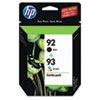 HP 92/HP 93, (C9513FN) 2-Pack Black/Tri-Color Original Ink Cartridges