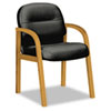HON® 2190 Pillow-Soft Wood Series Guest Arm Chair, Harvest/Black Leather HON2194CSR11