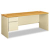38000 Series Left Pedestal Credenza, 72w x 24d x 29-1/2h, Harvest/Putty