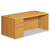 HON® 10700 Series Single Pedestal Desk, Full Left Pedestal, 72 x 36 x 29 1/2, Harvest HON10788LCC