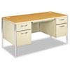 HON® Mentor Series Double Pedestal Desk, 60w x 30d x 29-1/2h, Harvest/Putty HON88962CL