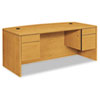 "10500 Series Bow Front Double Pedestal Desk, 72"" x 36"" x 29.5"", Harvest"