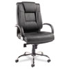 Alera Ravino Big and Tall Series High-Back Swivel/Tilt Leather Chair, Supports up to 450 lbs, Black Seat/Back, Chrome Base