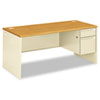 "<strong>HON®</strong><br />38000 Series Right Pedestal Desk, 66"" x 30"" x 29.5"", Harvest/Putty"