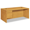 "<strong>HON®</strong><br />10500 Series ""L"" Workstation Single Pedestal Desk with 3/4 Height Pedestal, 72"" x 36"" x 29.5"", Harvest"