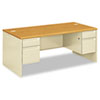 "<strong>HON®</strong><br />38000 Series Double Pedestal Desk, 72"" x 36"" x 29.5"", Harvest/Putty"