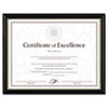 Two-Tone Document/Diploma Frame, Wood, 8 1/2 x 11, Black w/Gold Leaf Trim