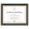 Gold-Trimmed Document Frame with Certificate, Plastic/Glass, 8.5 x 11, Black