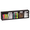 deflect-o® Tilt Bin Plastic Storage System w/5 Bins, 23 5/8 x 5 1/4 x 6 1/2, Black DEF20504OP