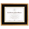 DAX® Hardwood Document/Certificate Frame w/Mat, 11 x 14, 8 1/2 x 11, Antiqued Gold DAX1511T