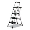 Cosco® Max Work Steel Platform Ladder, 22w x 31d x 55h, 3-Step, Black - 11880PBLW1