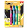 BIC® Brite Liner Grip Highlighter, Chisel Tip, Assorted Colors, 4/Set BICBLMGP41ASST