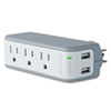 Belkin® Wall Mount Surge Protector with USB Charger, 3 Outlets, 918 Joules, Gray/White BLKBZ103050TVL