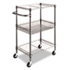 <strong>Alera®</strong><br />Three-Tier Wire Cart with Basket, 28w x 16d x 39h, Black Anthracite