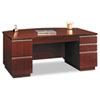 "72""W Bow Front Double Pedestal Desk (Box 2 of 2) Milano 2, 71.13w x 36.13d x 29h, Harvest Cherry"