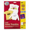 Avery® Light Fabric Transfers for Inkjet Printers, 8 1/2 x 11, White, 18/Pack AVE8938
