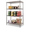 Alera® Wire Shelving Starter Kit, Four-Shelf, 48w x 24d x 72h, Black Anthracite ALESW504824BA